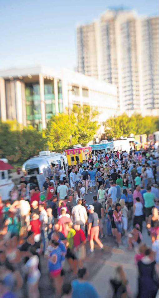 H&8th from above the crowd on Elemental Coffee rooftop. Photo courtesy of Nathan Poppe, The Oklahoman.